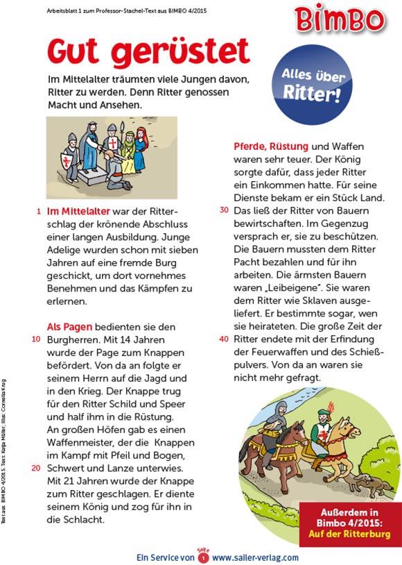 Arbeitsblätter über Ritter und das Mittelalter 1