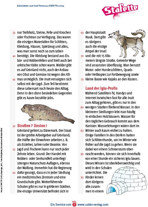 Arbeitsblätter Inuit 2