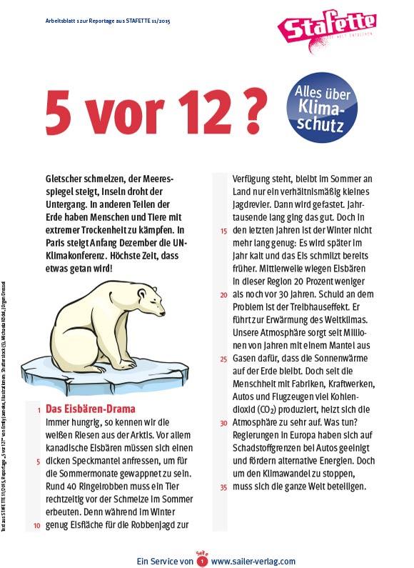Arbeitsblätter über Klimaschutz 1
