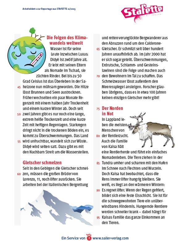 Arbeitsblätter über Klimaschutz 2