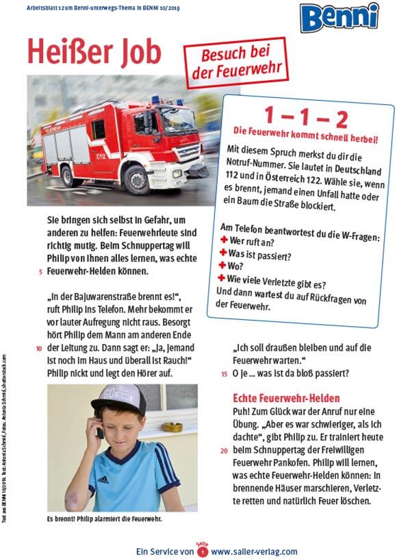 Arbeitsblätter Besuch bei der Feuerwehr 1