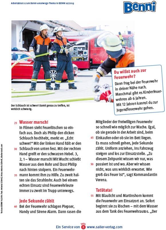 Arbeitsblätter Besuch bei der Feuerwehr 2