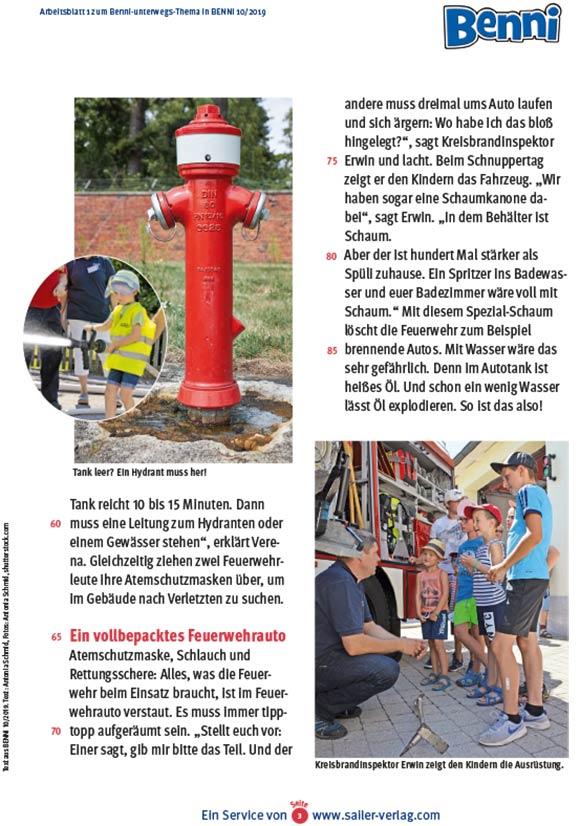 Arbeitsblätter Besuch bei der Feuerwehr 3