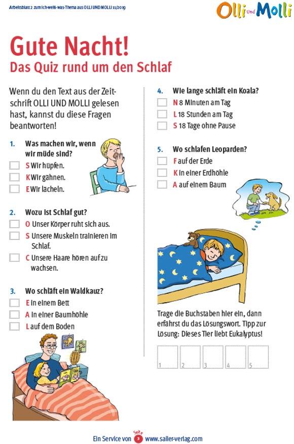 Arbeitsblätter über Schlaf 3