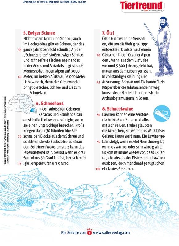 Arbeitsblätter Fakten über Eis und Schnee-2