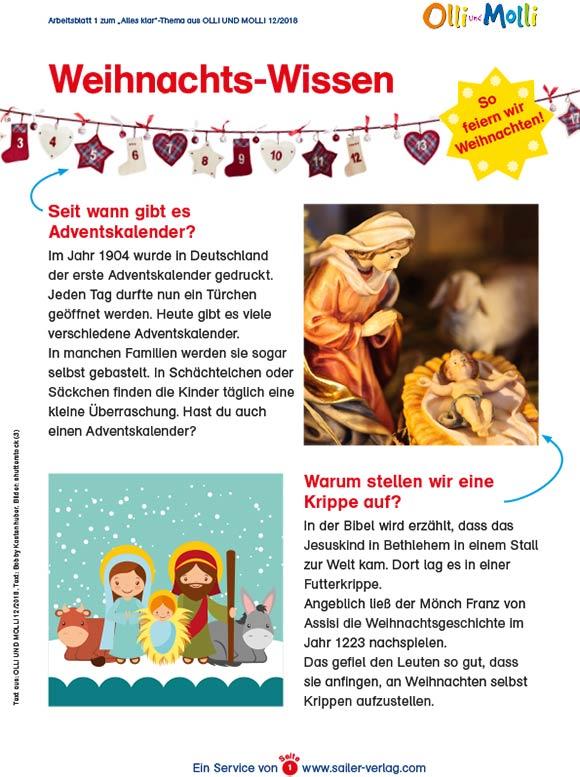 Arbeitsblätter Wissen über Weihnachten-1
