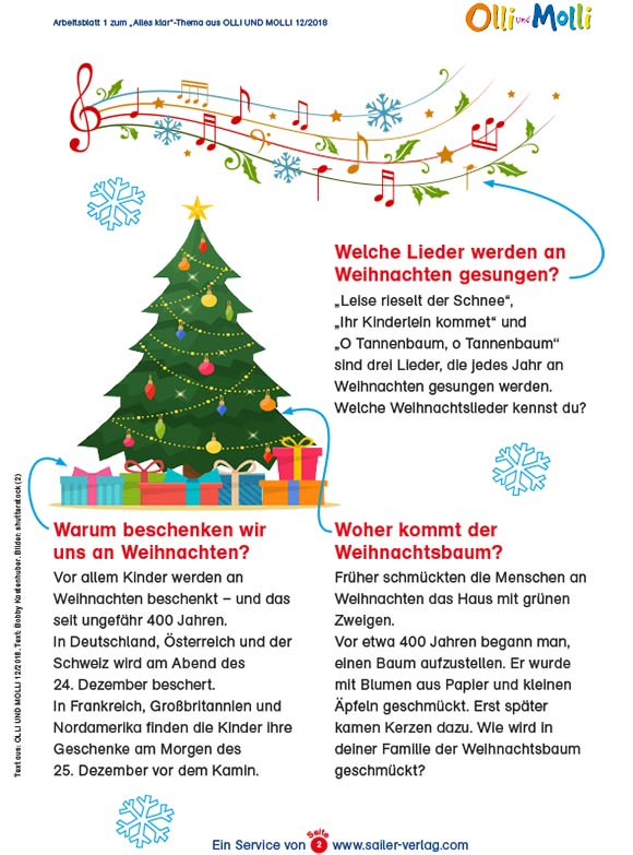 Arbeitsblätter Wissen über Weihnachten-2