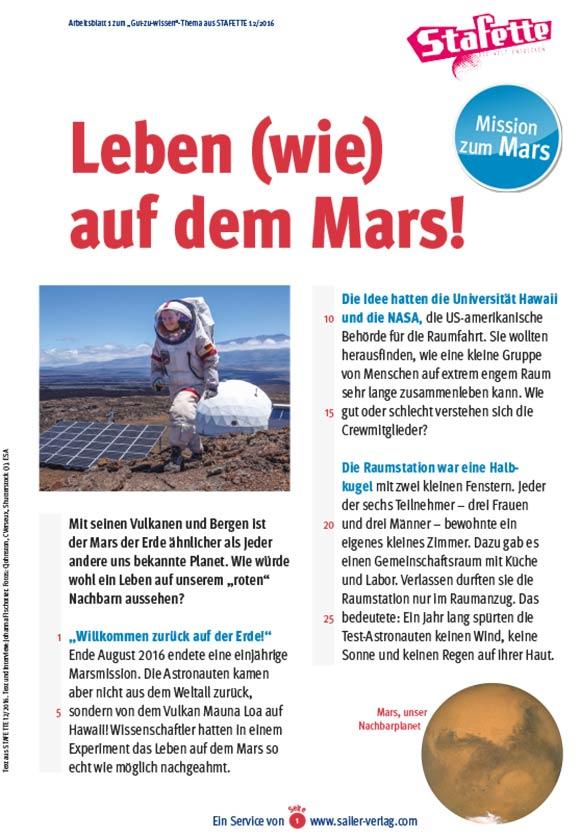 Arbeitsblätter Mission zum Mars-1