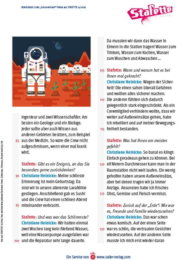 Arbeitsblätter Mission zum Mars-3