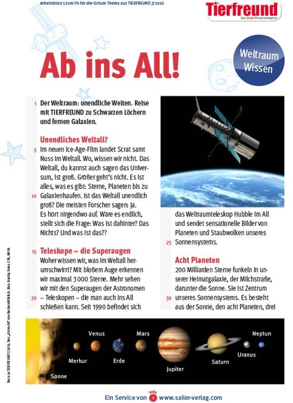 Arbeitsblätter Planeten und Weltall-1
