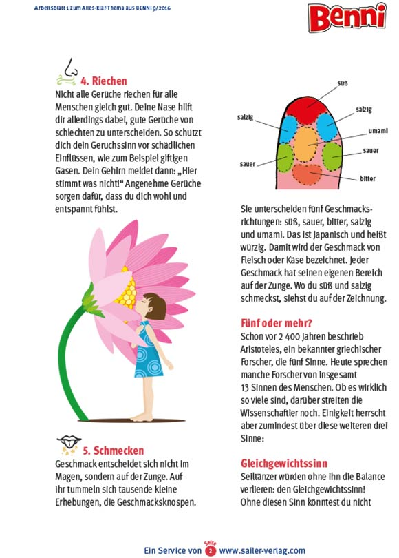 Arbeitsblätter Unsere 5 Sinne-2