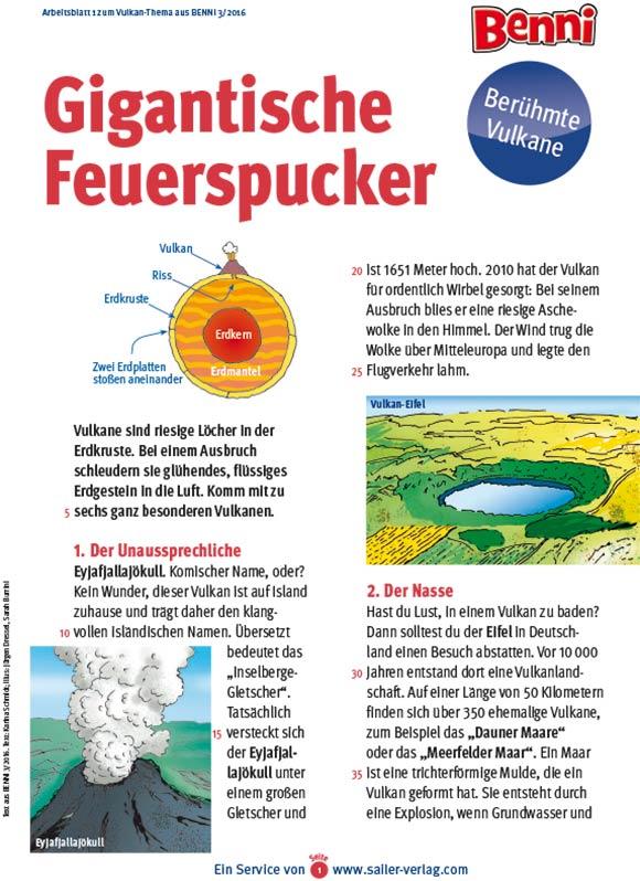 Arbeitsblätter Berühmte Vulkane-1