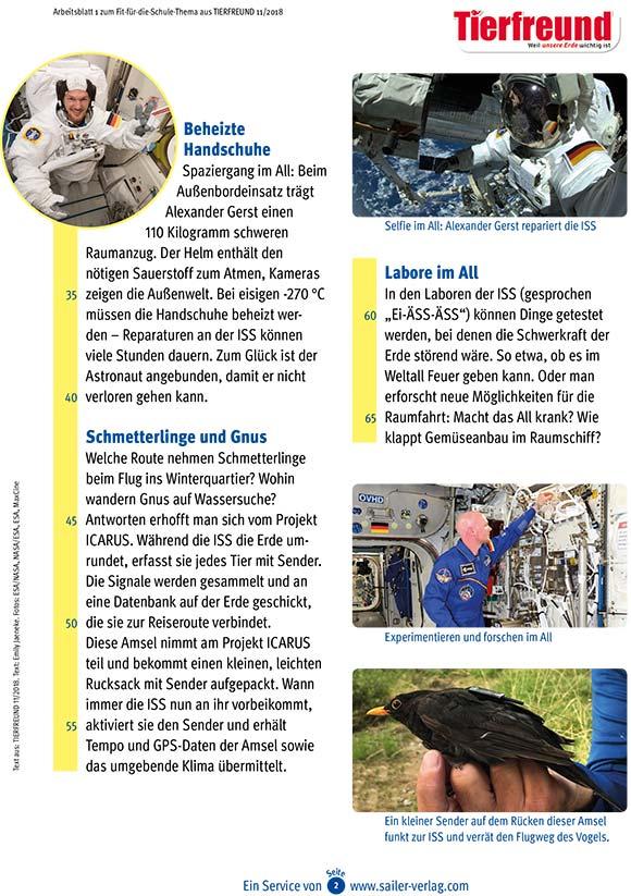 Arbeitsblätter Alexander Gerst auf der ISS-2