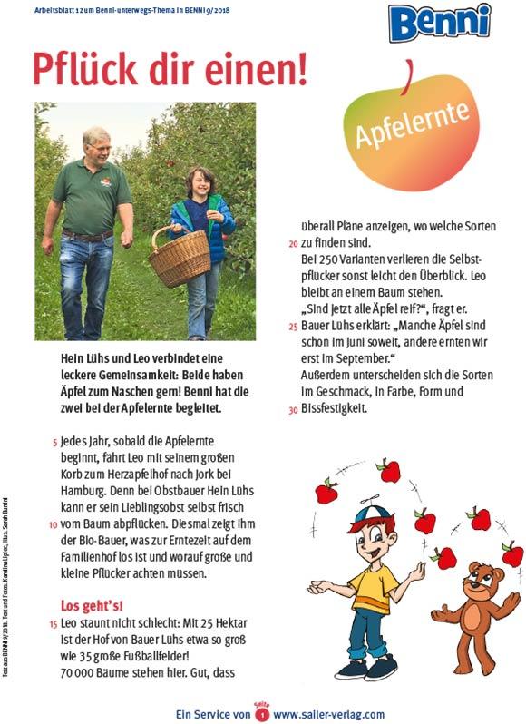 Arbeitsblätter Apfelernte und Apfelbaum-1