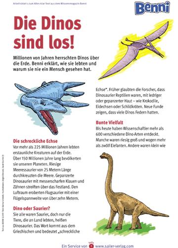 Arbeitsblatt Dinosaurier